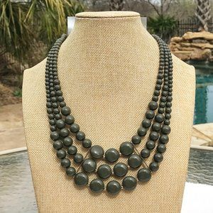 Boho Necklace Chunky Multi Strand Olive Bead